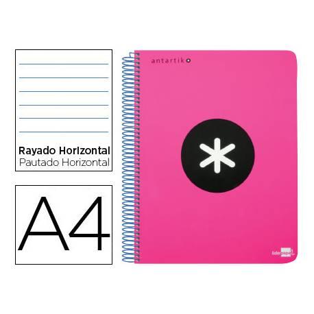 Bloc Antartik A4 Rayado Horizontal tapa Plástico 120 hojas 100g/m2 color Rosa 5 bandas color