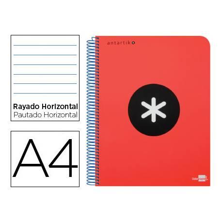 Bloc Antartik A4 Rayado Horizontal tapa Plástico 120 hojas 100g/m2 Rojo 5 bandas color