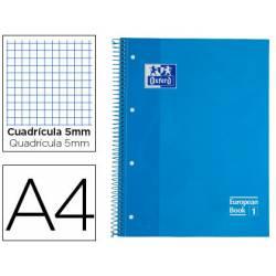 Cuaderno Oxford DIN A4 Turquesa Tapa Extradura 80 hojas Cuadrícula 5 mm