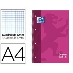 Bloc espiral Oxford DIN A4 cuadricula 5mm tapa dura microperforado color rosa fucsia