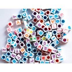 Cuentas de plastico Abecedario Forma cubo colores surtidos itKrea