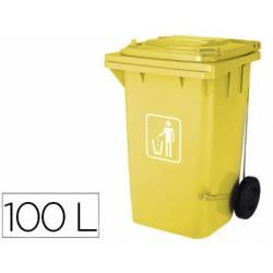 Papelera contenedor Q-connect de 100L amarillo