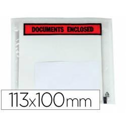 Sobre autoadhesivo Q-connect portadocumentos 113x100 transparente Paquete de 100