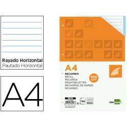 Recambio Liderpapel DIN A4 4 taladros 100 gr rayado horizontal