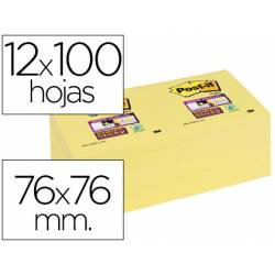 Post-it ® Bloc de notas adhesivas color amarillo quita y pon super sticky 76 x 76 mm