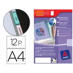 Separador Avery de plastico con 12 pestañas personalizable din a4