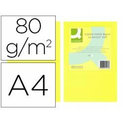 Papel color Q-connect A4 80g/m2 color Amarillo neon pack 500 hojas