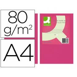 Papel color marca Q-connect A4 80g/m2 Rosa neon pack 500 hojas