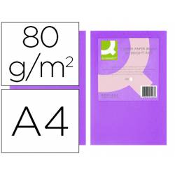 Papel color Q-connect tamaño A4 80g/m2 pack 500 hojas Lila intenso