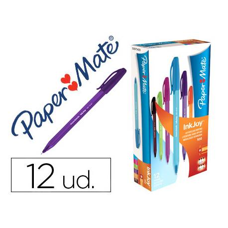 Boligrafo Paper Mate Inkjoy 100 1 mm colores surtidos pack 12 unidades