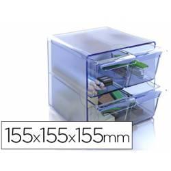 Archicubo Archivo 2000 4 cajones organizador modular azul transparente