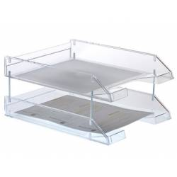 Bandeja sobremesa Archivo 2000 de plastico transparente cristal 340x260x60 mm