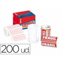 Etiquetas marca Apli fragil 50x100 mm rollo con 200 unidades