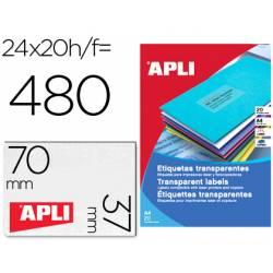 Etiqueta adhesiva marca Apli 1224 transparentes 70x37 mm caja 20 hojas con 480