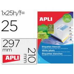 Etiqueta adhesiva marca Apli 1215 210x297 mm caja con 25 hojas con 25