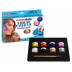 Maquillaje líquido marca Alpino set de 8 colores surtidos