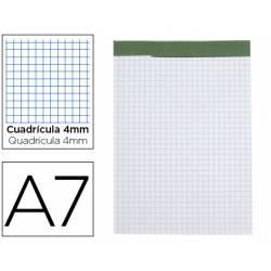 Bloc de notas Din A7 encolado Liderpapel 80 hojas cuadricula 4 mm