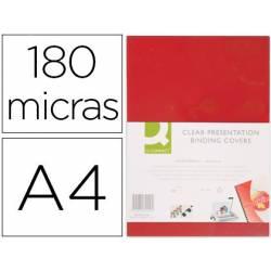 TAPA DE ENCUADERNACION Q-CONNECT PVC DIN A4 OPACA ROJO 180 MICRAS CAJA 100 UNIDADES