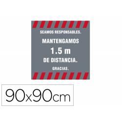ALFOMBRA PARA SUELO DE PASO NOVUS SEAMOS RESPONSABLES MANTEGAMOS 1,5 M DE DISTANCIA FONDO GRIS 90X90 CM