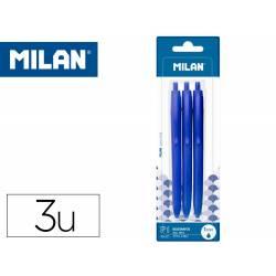 BOLIGRAFO MILAN P1 RETRACTIL 1 MM TOUCH AZUL BLISTER DE 3 UNIDADES