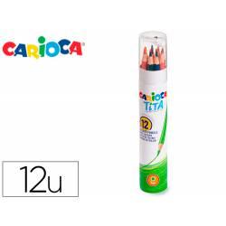 LAPICES DE COLORES CARIOCA TITA MINA 3 MM TUBO METAL 12 COLORES SURTIDOS + SACAPUNTAS