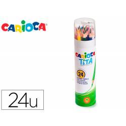 LAPICES DE COLORES CARIOCA TITA MINA 3 MM TUBO METAL 24 COLORES SURTIDOS + SACAPUNTAS