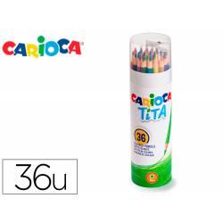 LAPICES DE COLORES CARIOCA TITA MINA 3 MM TUBO METAL 36 COLORES SURTIDOS + SACAPUNTAS