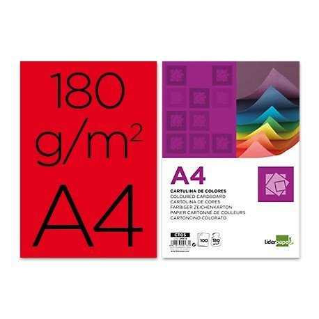 Cartulina Liderpapel color rojo a4 180 g/m2