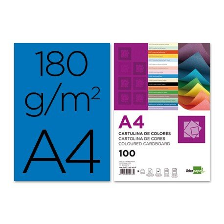 Cartulina Liderpapel color azul a4 180 g/m2