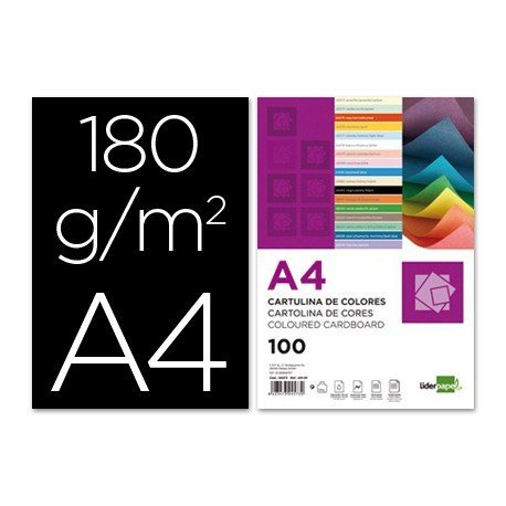 Cartulina Liderpapel color negro a4 180 g/m2