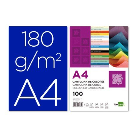 Cartulina Liderpapel color azul ultramar a4 180 g/m2