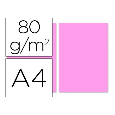 Papel color Liderpapel color rosa A4 80 g/m2 100 hojas