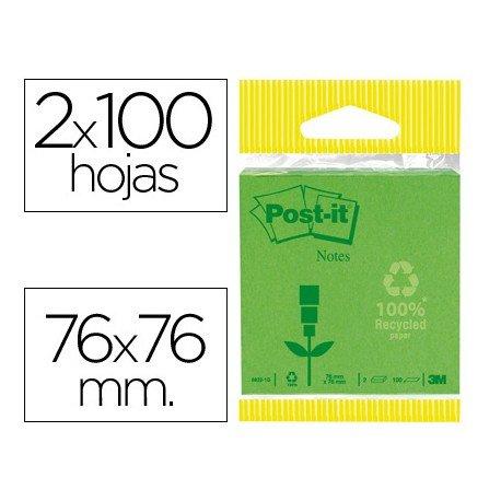 Bloc quita y pon Post-it ® verde pastel y oscuro
