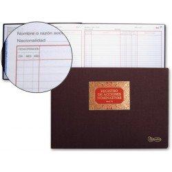 Libro Miquelrius tamaño Folio apaisado Registro de Acciones