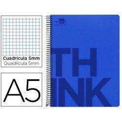 Bloc Din A5 Liderpapel serie Think cuadricula de 5 mm azul