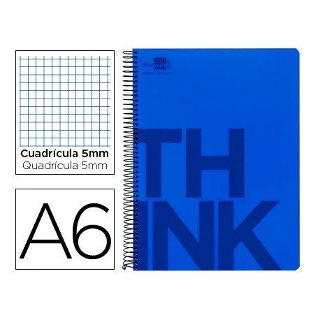 Bloc Din A6 Liderpapel serie Think cuadricula de 5 mm azul