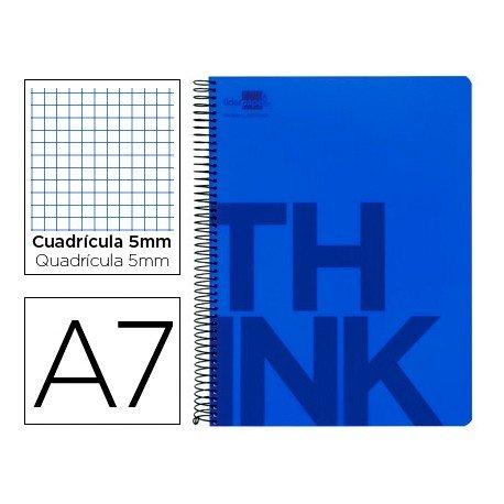 Bloc Din A7 Liderpapel serie Think cuadricula de 5 mm azul