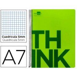Bloc Din A7 Liderpapel serie Think cuadricula de 5 mm verde
