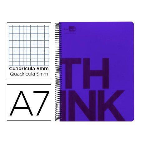 Bloc Din A7 Liderpapel serie Think cuadricula de 5 mm violeta