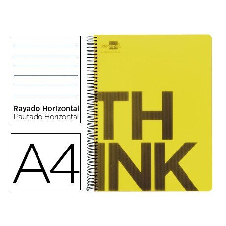 Bloc Din A4 Liderpapel serie Think rayado horizontal amarillo