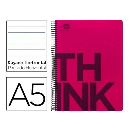 Bloc Din A5 Liderpapel serie Think rayado horizontal rojo