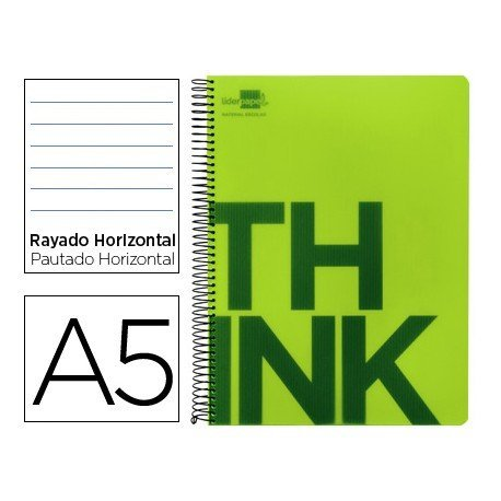 Bloc Din A5 Liderpapel serie Think rayado horizontal verde