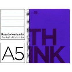 Bloc Din A5 Liderpapel serie Think rayado horizontal violeta