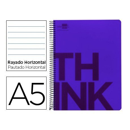 Bloc Din A5 Liderpapel serie Think rayado horizontal violeta