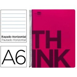 Bloc Din A6 Liderpapel serie Think rayado horizontal rojo