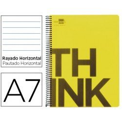 Bloc Din A7 Liderpapel serie Think rayado horizontal amarillo