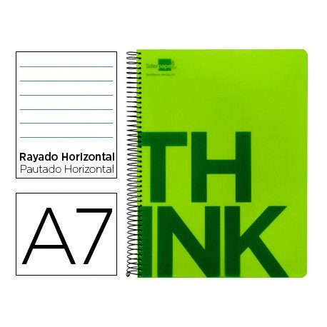 Bloc Din A7 Liderpapel serie Think rayado horizontal verde