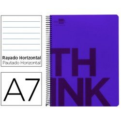 Bloc Din A7 Liderpapel serie Think rayado horizontal violeta