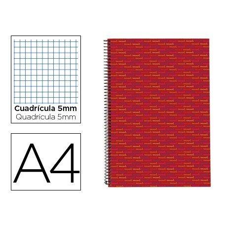 Bloc Din A4 espiral Microperforado Tapa forrada Multilider Liderpapel rojo
