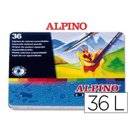Lapices de colores acuarelables Alpino hexagonales caja metal 36 unidades